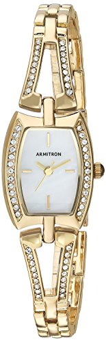 Armitron 75/5502mpgp de la Mujer Swarovski Cristal Acentos en Tono Dorado Abierto Brazalete Reloj