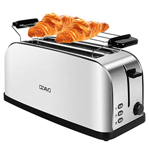 OZAVO Grille Pain Inox Baguette Automatique Toaster 4 Tranches...
