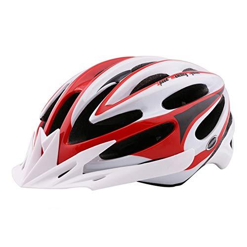 LuuBoes Fahrradhelm, leicht, verstellbar, belüftet, für Mountainbike, Rennrad, Kopfschutz mit 24 Belüftungsöffnungen, rot/weiß