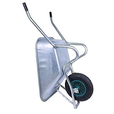 KYD Schubkarre Bauschubkarre 90L 150kg Schubkarren Schiebkarre Luftrad Gartenkarre für Bau und Garten Verzinkt mit Luftreifen, NEU von KYD auf Du und dein Garten