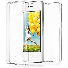 Caso doble para iPhone 4 / 4S | Funda de silicona transparente cubre todo | Delgada 360° completa casos del smartphone OneFlow | Back Cover en Transparent