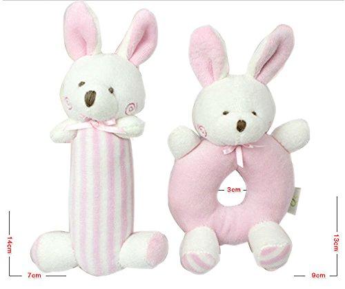 Liketo weiche Babyrassel, Plüschtier, Spielzeug ideal für die Sensorik, 2 Stück. Blauer Bär für Jungen 14,2 cm, 10,1 cm–Stofftier...