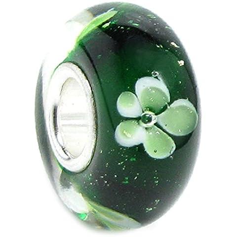 Queenberry quadrifoglio, in argento Sterling, con perle di vetro con fiore, per Pandora, Biagi, Troll, Chamilia europea Charm Bracelets