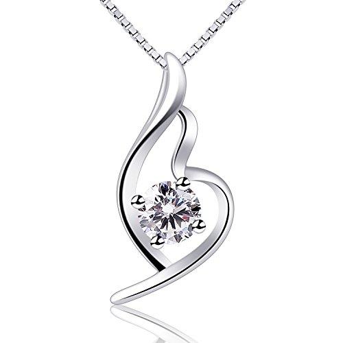 B.Catcher Halskette Schmuck Anhänger Herz 925 Sterling Silber Twist 5A Zirkonia 45CM Kettenlänge Geschenk Box für Damen