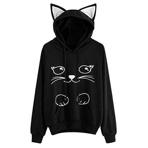 Womens Hoodie,Moonuy Ladies Cat Hat Long Sleeve Sweatshirt Letter Printing Hooded Pullover Tops Autumn Winner Fashion Causal Pocket Blouse Loose Elegant Cute Sweater fleeces Hoody (L,