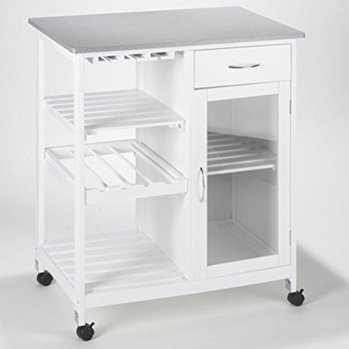 real,- QUALITY rQ Küchenrollwagen | 76 x 48 x 88 cm | Holz | weiß | mit Rädern + Bremse | 5 Regalböden und Schublade | universell einsetzbar | Landhausstil | Servierwagen