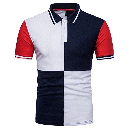 Preisvergleich Produktbild UFACE Mitglied Abfertigung Männer Sommer Stil T-Shirt Top Schlank Patchwork Kurzarm T-Shirt Top Bluse (S,  Marine)