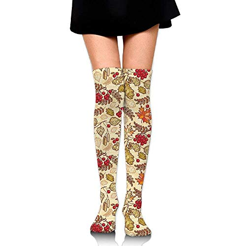 OQUYCZ Woman's Fall Season Themed Mixed Pattern with Maple Birch Oak Autumn Leaves and Ashberries Breathable High Boot Socks