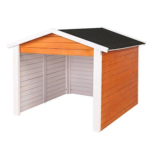 Wiltec Garage für Mähroboter aus Holz Rasenrobotergarage Gartenhaus Carport Station