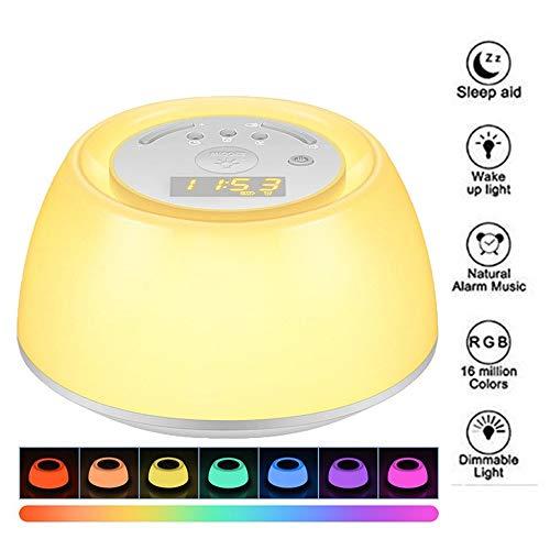 Wake Up Light,Luces-Despertador con Simulación de Amanecer,4 Sonidos Naturales de Alarma, Máquina de Ruido,3 Modos de Brillo, Luz Nocturna de 7 Colores,Función Snooze