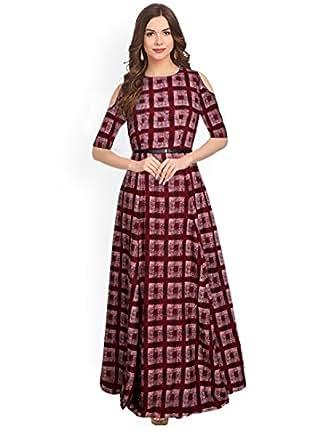 e65fc671df2f3 SJ Trendz Women s Maroon American Crepe Printed Latest 2018 Party ...