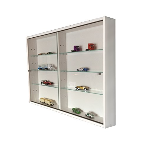 Sammlervitrine Glasvitrine Sammelvitrine Hängevitrine Vitrine Weiß Schaukasten Glasboden 375 x 70 x 4 mm