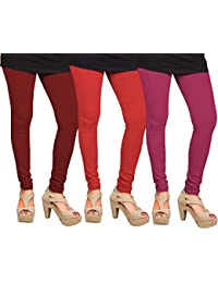 CAY 100% Cotton Combo of Dark Pink, Red and Maroon Color Plain, Stylish & Most Comfortable Leggings For Girls & Women with Full Length (SIZE : Free Size)