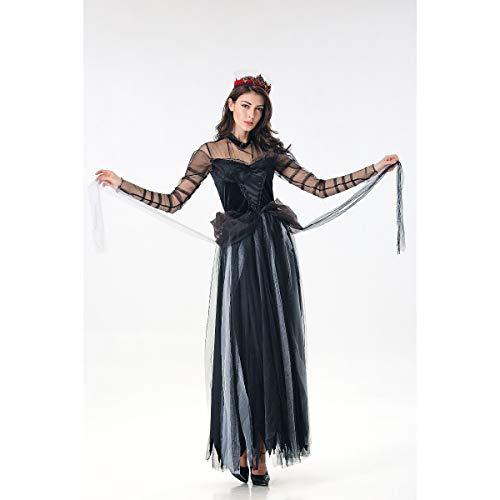 Und Kostüm Scary Sexy - WANLN Hexe Cosplay Scary kostüm geisterbraut Halloween kostüm sexy Spitze Frauen weiches Kleid Vampire hexenkleid Karneval bruxa kostüm,Schwarz,OneSize