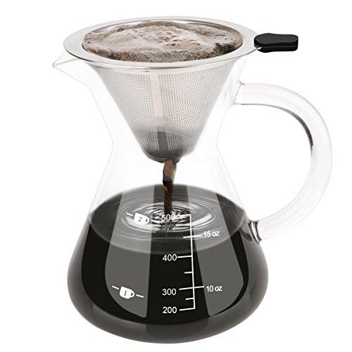 Luxebell Macchina da Caffè Americano, 500ml Macchina per Caffè Filtro in acciaio inox