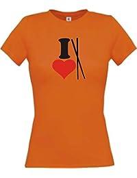 ShirtInStyle Lady-Shirt I Love Chinesisches Essen Stäbchen Kochen Backen