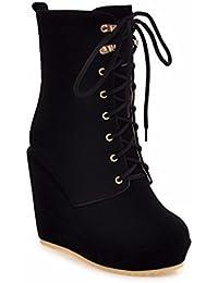 La Sra. invierno botas de tacón alto con lazo frontal pendiente mate botas de tamaño,negro,32