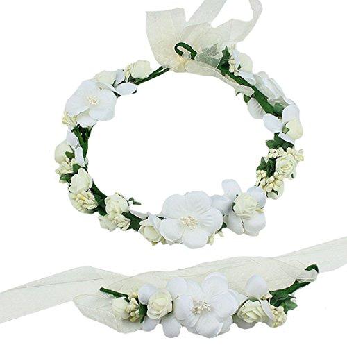 AiSi Blumenkranz mit Armband, Handgelenk Band Haarband Set, Stirnband Haarkranz Blumen Krone Boho Style für Festival Hochzeit Braut Brautjungfer Party (Weiß)