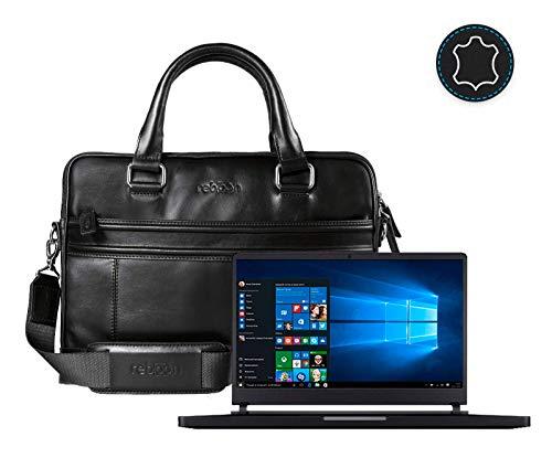reboon Leder Laptoptasche für Damen/Herren passend für Xiaomi Mi Gaming Laptop 15 6 | Schwarz