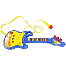 Chitarra giocattolo BABY ROCK 104008 con microfono funzionante con luci e suoni. MEDIA WAVE store ® (Blu)