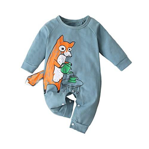 TWISFER Overall Baby Langarm Cartoon Fox Brief Drucken Jumpsuit Baby Kleidung Jungen Mädchen Strampler Kleinkind Bodysuits Outfits Einteiler Jacke Neugeborenen Schlafstrampler Säugling