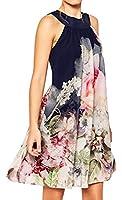 X-Future Women's Loose Floral Print Sleeveless Backless Sexy Mini Dress 1 L