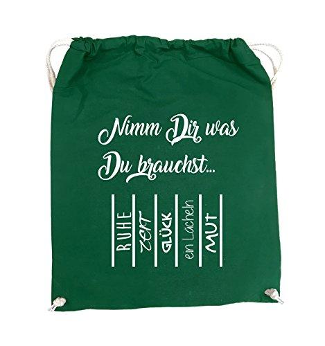 Comedy Bags - Nimm Dir was Du brauchst - ABREIßZETTEL - Turnbeutel - 37x46cm - Farbe: Schwarz / Silber Grün / Weiss