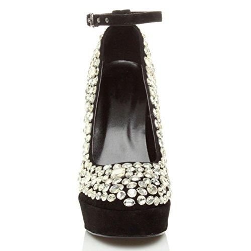 Femmes talon haut gemmes chaussures fête semelle plateforme escarpins pointure Noir / argent