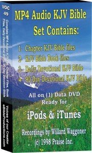 Complete MP4 Audio Set: 1- Chapter Bible files 2- Bible Book files 3- Daily Devotional KJV Bible 4- 90 Day Devotional KJV Bible (Ready for iPod and iTunes) - 311 hours - (1) data DVD disk