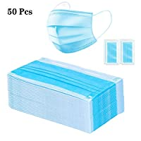 50 Pcs Individual Package Surgical Mask,3+1 Layer Breathable Dust Air Pollution Flu Protection Medical Disposable Mask Blue