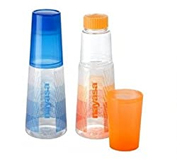 Nayasa Plastic Water Bottle with Glass Set of 2-Pieces, 1 liter capacity