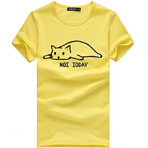 (Qmber Ostern 80er Jahre T-Shirt Top Damen Frühling Sommer Jahre Kostüm Night Parteien Tees Top 80er Party Kleider Große Größe Cat Print Tees T Shirt/Yellow2,M)