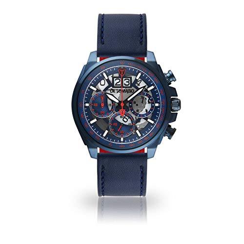 DETOMASO LIVELLO DT2060-D-905 - Reloj de Pulsera para Hombre, cronógrafo, analógico, Cuarzo, Correa de Cuero Azul Oscuro, Esfera Azul y Rojo
