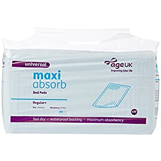 Age UK Maxi Absorb 60cm X 60cm Regular Bed Pads (1pack of 30 pads)