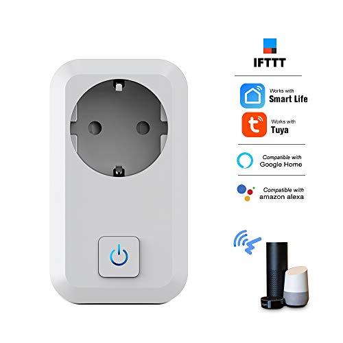 Leepesx S01 Smart Wi-Fi-Steckdose Telefon-Fernbedienung Timer-Funktion Countdown-Sprachsteuerung Kompatibel mit Amazon Alexa und Google Home Safety Circuit Stromverbrauchszählung EU-Stecker 160g 2g Pc
