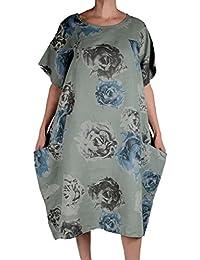 Damen Leinen Lagenlook Sommer Maxi Kleid Tunika 44 46 48 50 52 L XL XXL 3XL  Olive Grün Blumen Print Strand… 8200862910