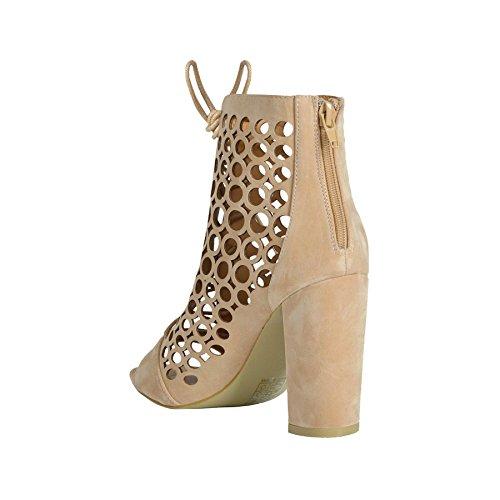 Damen Eingesperrt Schnürer Stiletto High Heels Open Toe Wegschneiden Sandalen Stiefeletten Hautfarben - Nude Suede