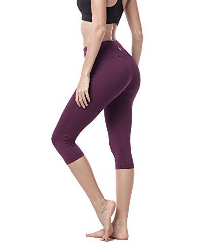 LAPASA Damen 3/4 Sport Leggings, mit Tasche, Super Opak, 3/4 Yoga Sporthose, Damen Capri kurz Training Tights L002 (Weinrot, M (Taille 64-74 cm, Schrittlänge 46.5cm))