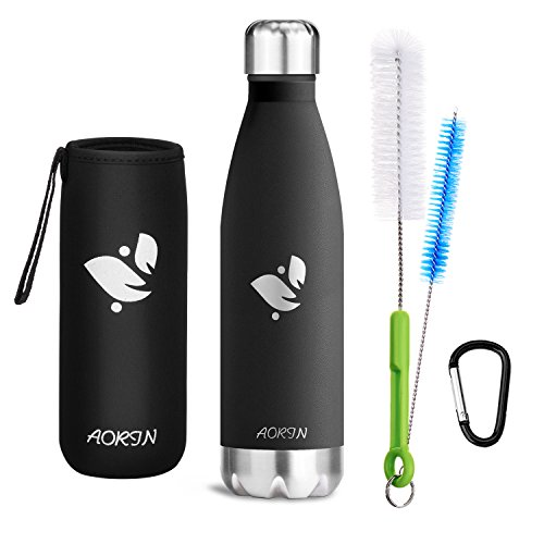 Aorin Vakuum-Isolierte Trinkflasche aus Hochwertigem Edelstahl - 24 Std Kühlen & 12 Std Warmhalten Pulverlackierung Kratzfestigkeit Leicht zu reinigen. (Schwarz-500ml) -