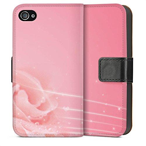 Apple iPhone 5s Housse Étui Protection Coque Rose Fleurs Fleurs Sideflip Sac