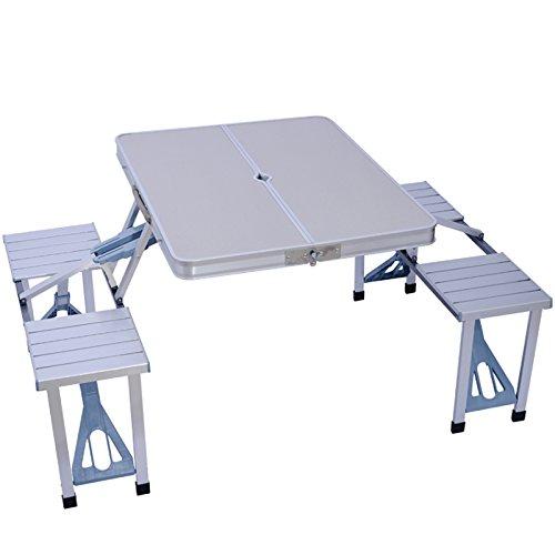 zhedieyi Outdoor tragbaren Tisch und Stuhl 4 Aluminium Klappstuhl verdickte Picknick Tisch Grill Tisch Set