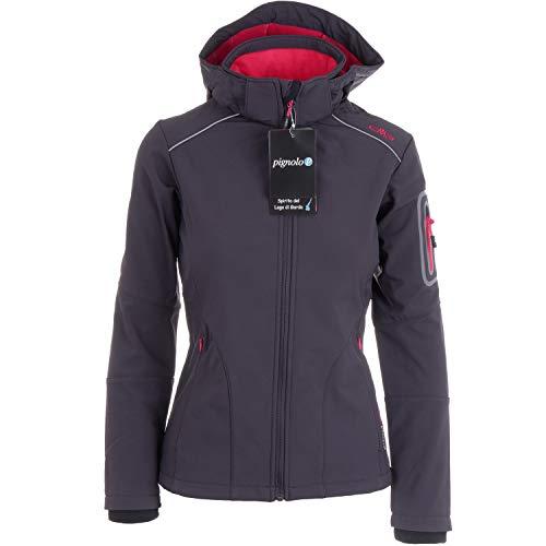 CMP Softshelljacken für Damen Softshell Jacke Fahrradjacke Fahrradregenjacke schwarz große Mädchen Funktions-Outdoor-Wandern-Jacke atmungsaktiv, Größe:38, Farbe:Antracite-Ibisco-Black