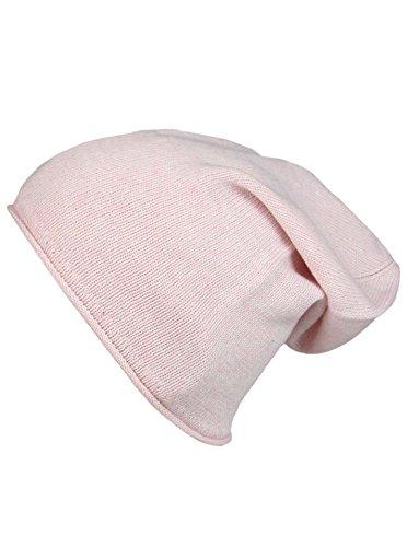 Cashmere Dreams Slouch-Beanie-Mütze mit Kaschmir - Hochwertige Strickmütze für Damen Mädchen Jungen - Hat - Unisex - One Size - warm und weich im Sommer Herbst und Winter Zwillingsherz (rosa)