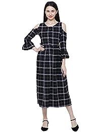 b22a7ab0527087 DAMEN MODE Women Black   White Check Cold Shoulder Rayon Long Kurti Dress