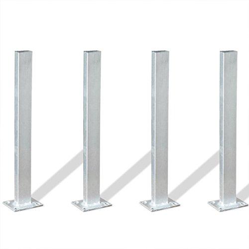 Festnight 4 Stücke Pfostenträger aus Stahl 40 cm Stahl für Zäunen, Pergolen oder Rosenbögen