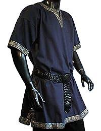 Tunika mit kurzem Arm, blau, Größen M, L, XL, XXL Mittelalter