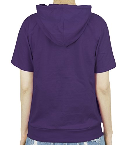 ililily Basic Solid Color Short Sleeve Pullover Hooded Cotton Top Sweatshirt purple