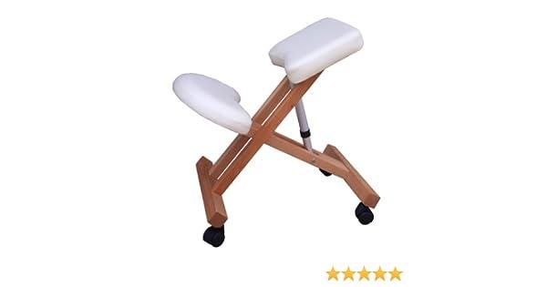 Sedia ergonomica g3w bianca crema sgabello con ruote per casa o