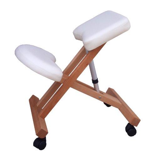 Sedia ergonomica g3w bianca crema sgabello con ruote per casa o ufficio