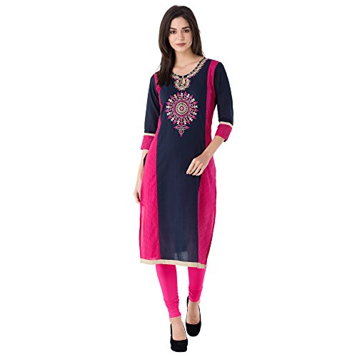 M&D 3/4th Sleeve Beautiful Embroidered Exclusive Women's Cotton Printed Blue Kurti